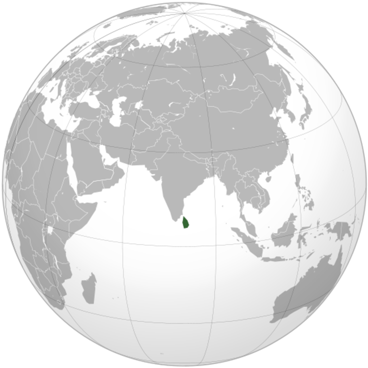 Permission is granted to copy, distribute and/or modify this document under the terms of the GNU Free Documentation License. see: http://en.wikipedia.org/wiki/File:Sri_Lanka_%28orthographic_projection%29.svg