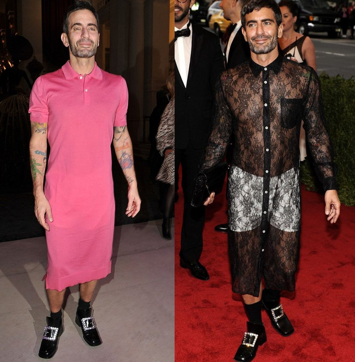 On the left, Marc Jacobs wears a pink t-shirt dress during Paris Fashion Week 2012 and on the right, he wears a black lacy t-shirt dress while attending Met Gala 2012.