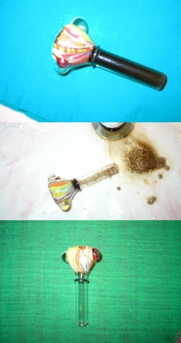Alcohol and sea salt to clean a glass pipe.
