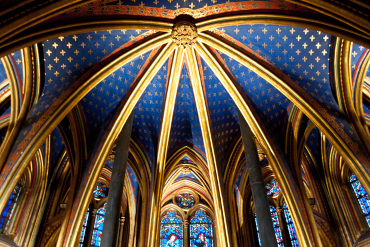 The ceiling of Sainte Chapelle in Paris, France.