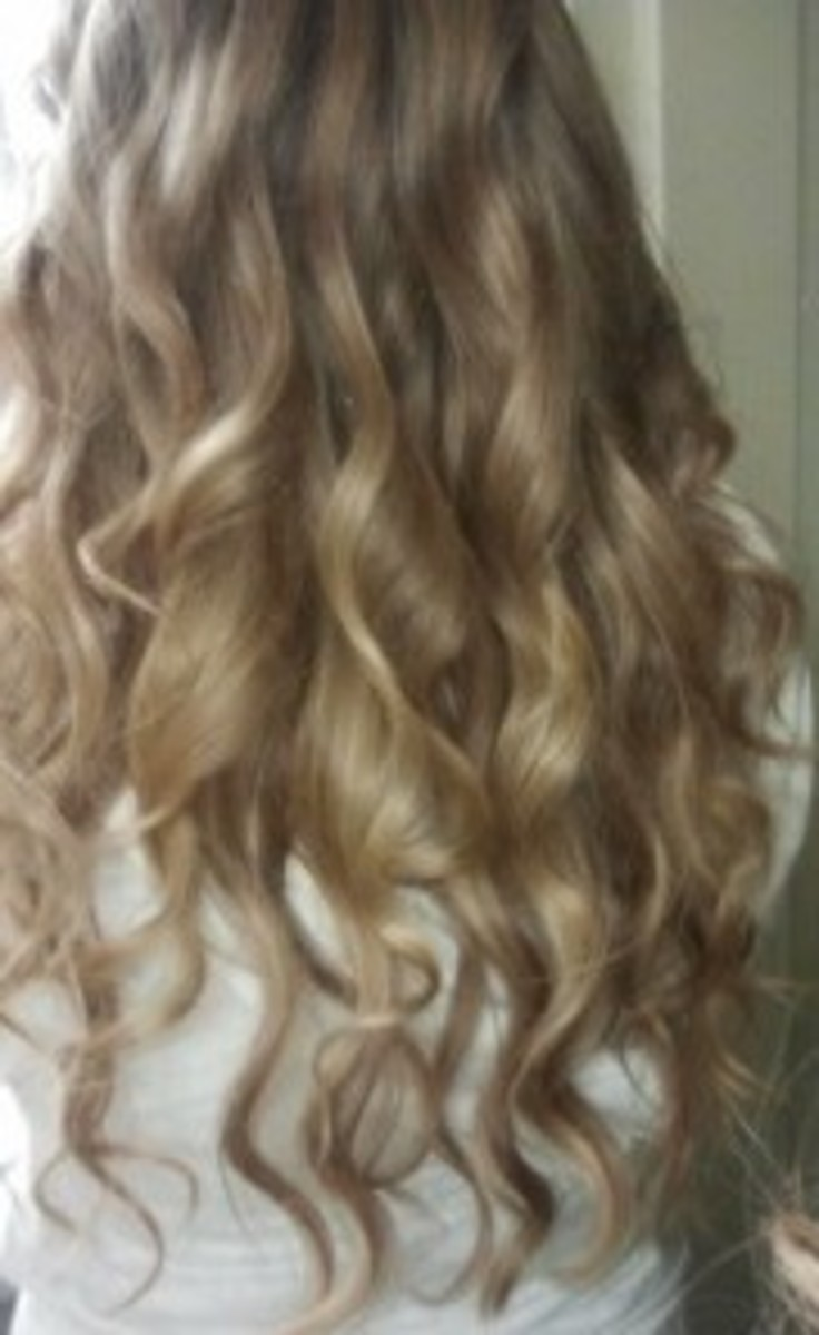 An example of hair curled with a curling wand. Photo Source: Shanna11