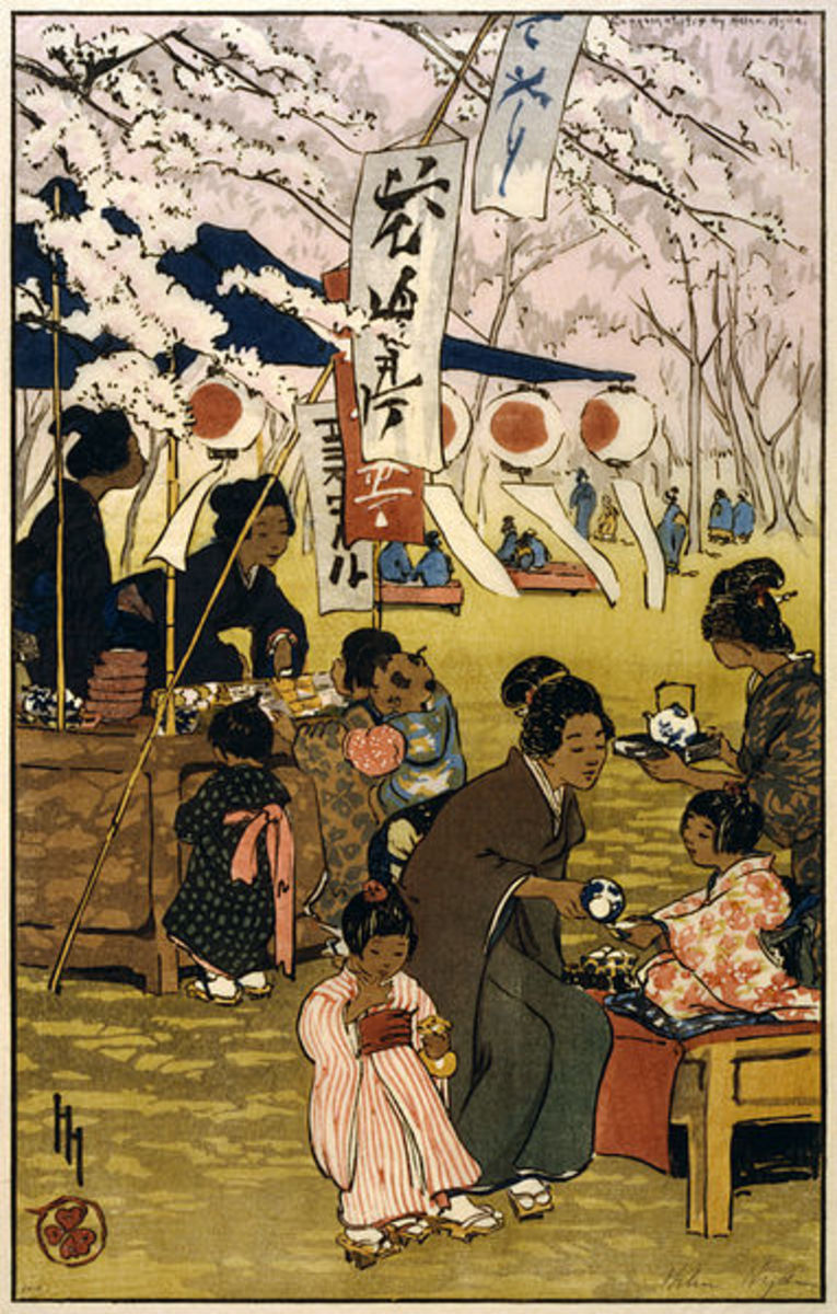 """""""Blossom Time in Tokyo"""" by American artist Helen Hyde (1868-1919), 1914. This woodcut was done in the Japonisme style."""