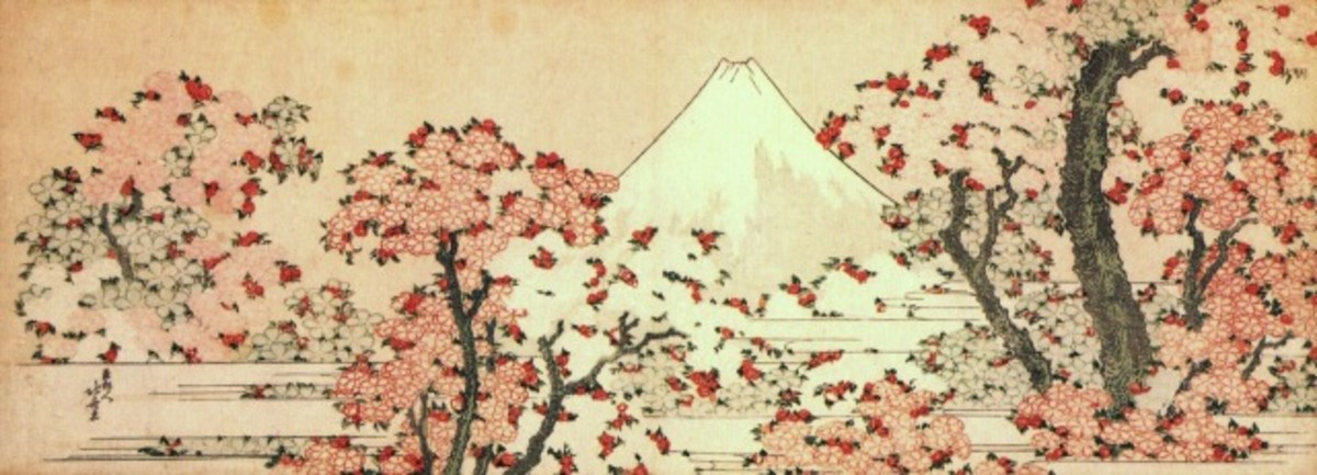 """Mount Fuji with cherry trees in bloom"" by Katsushika Hokusai (1760-1849)."