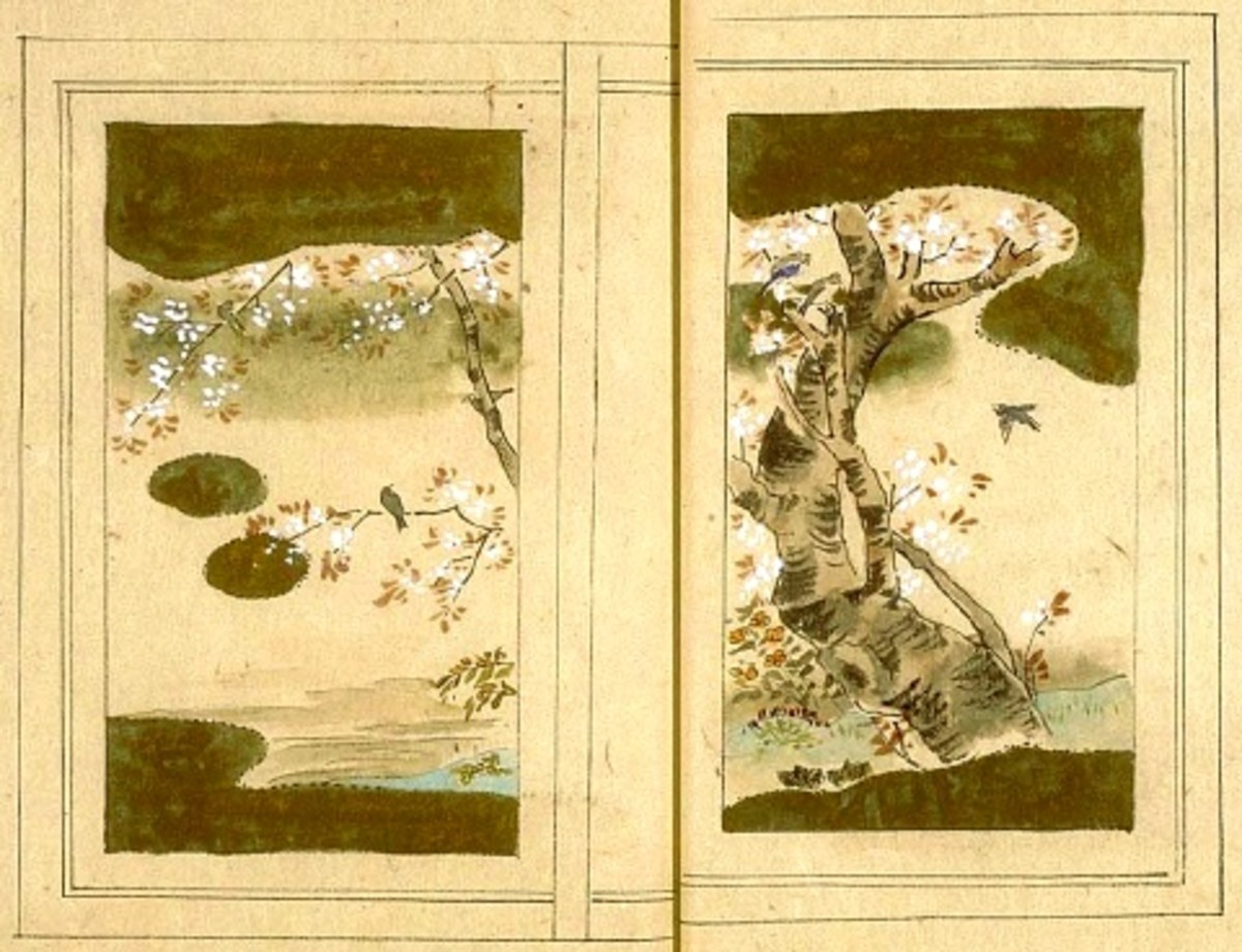Painting by an unknown Chinese artist of a cherry blossom and sparrow.