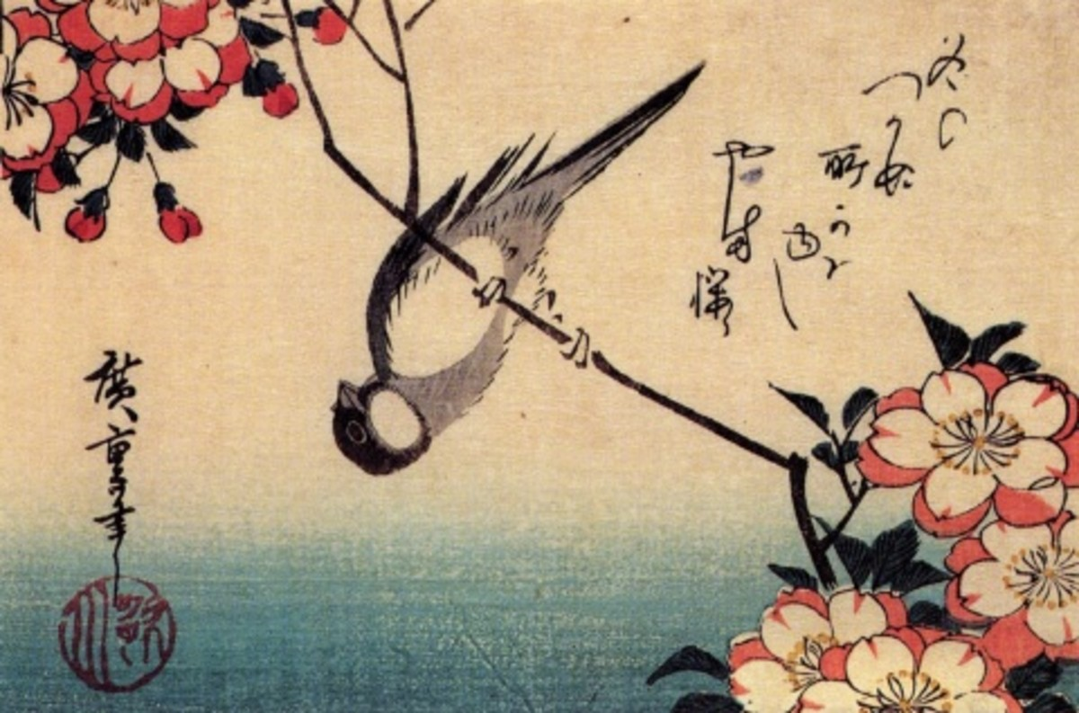 """Titmouse on a cherry blossom branch"" by ukiyo-e master Ando Hiroshige (1797-1858)."