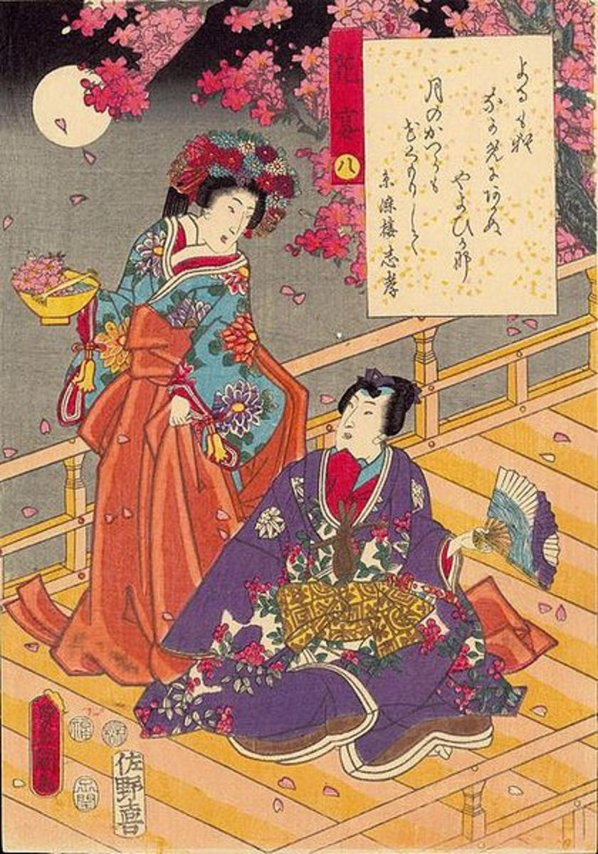 "Ukiyo-e print by Utagawa Kunisada (1786-1865) from his 1852 series ""Tale of Genji""."