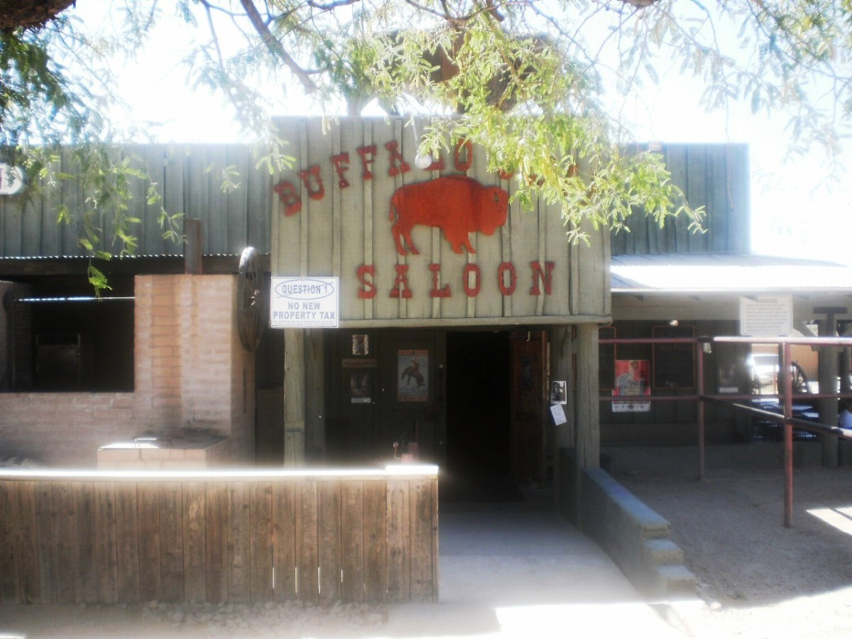 There's even a hitching post out front of the Buffalo Chip Saloon!