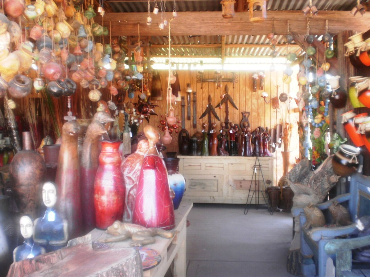 Pottery, wind chimes, twig furniture