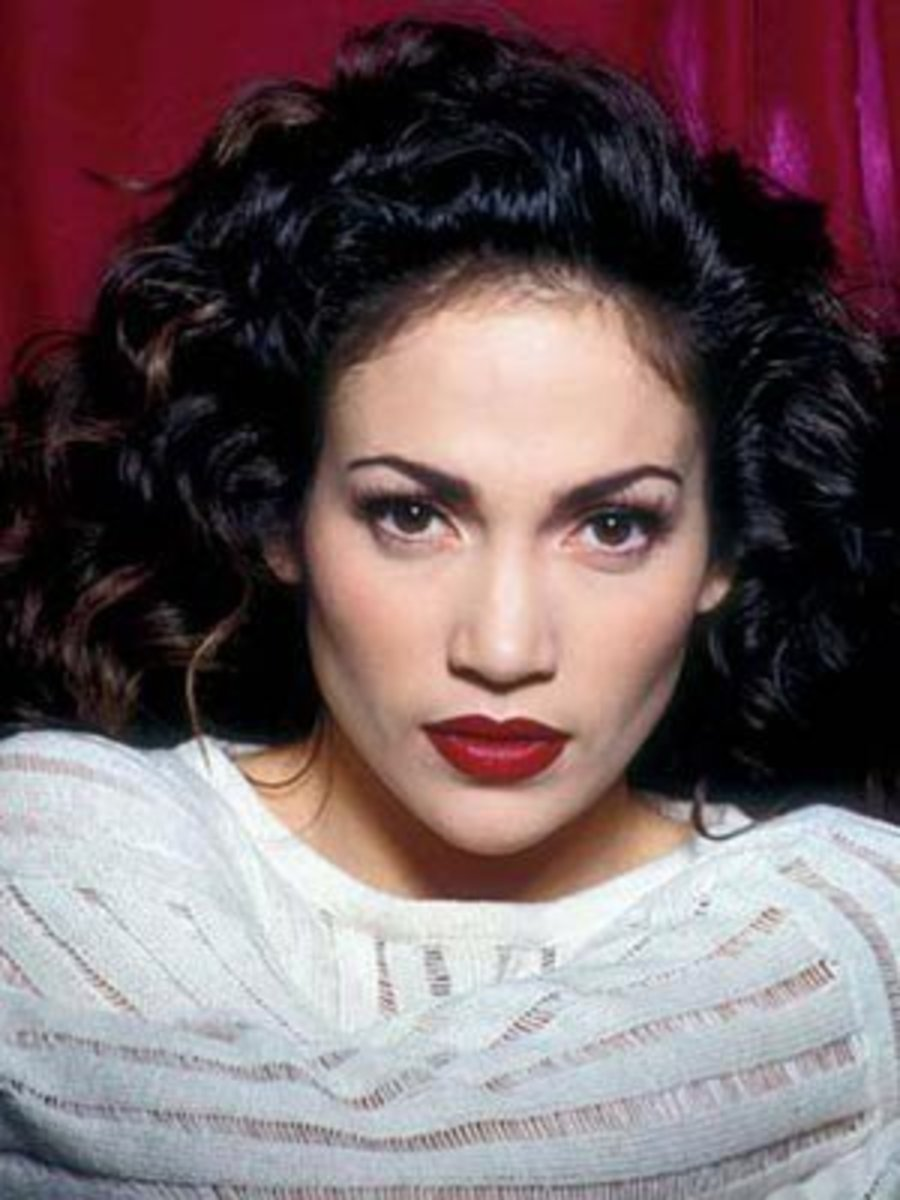 Young Jennifer Lopez, JLo with Black Curly Hair