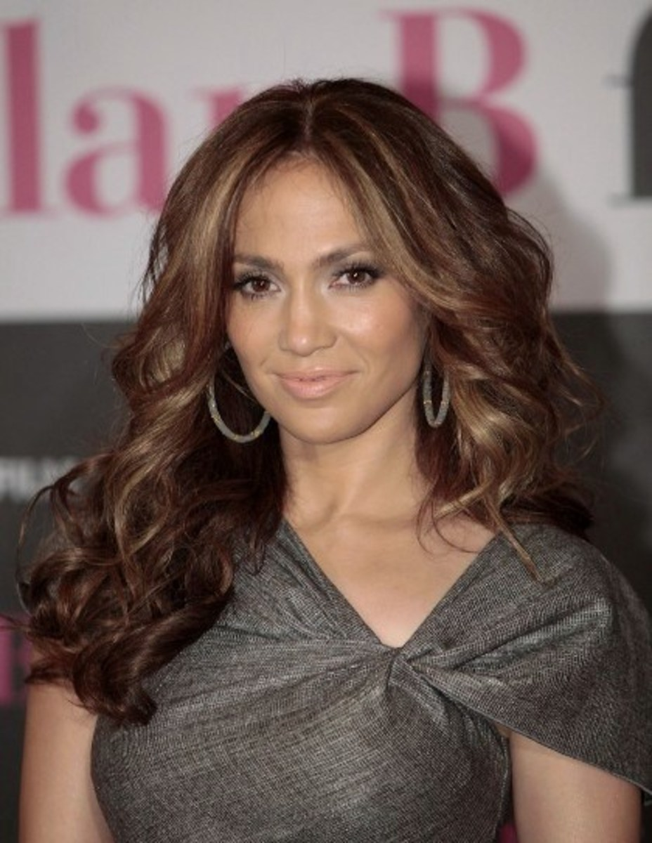 JLo with Medium Brown Hair and Ash Blonde Highlights