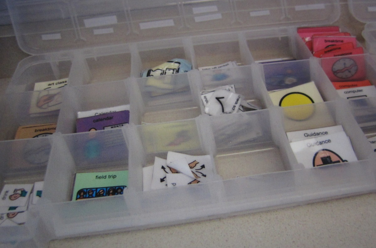 When I taught special education, I organized all of my Boardmaker schedule cards in plastic craft storage containers.