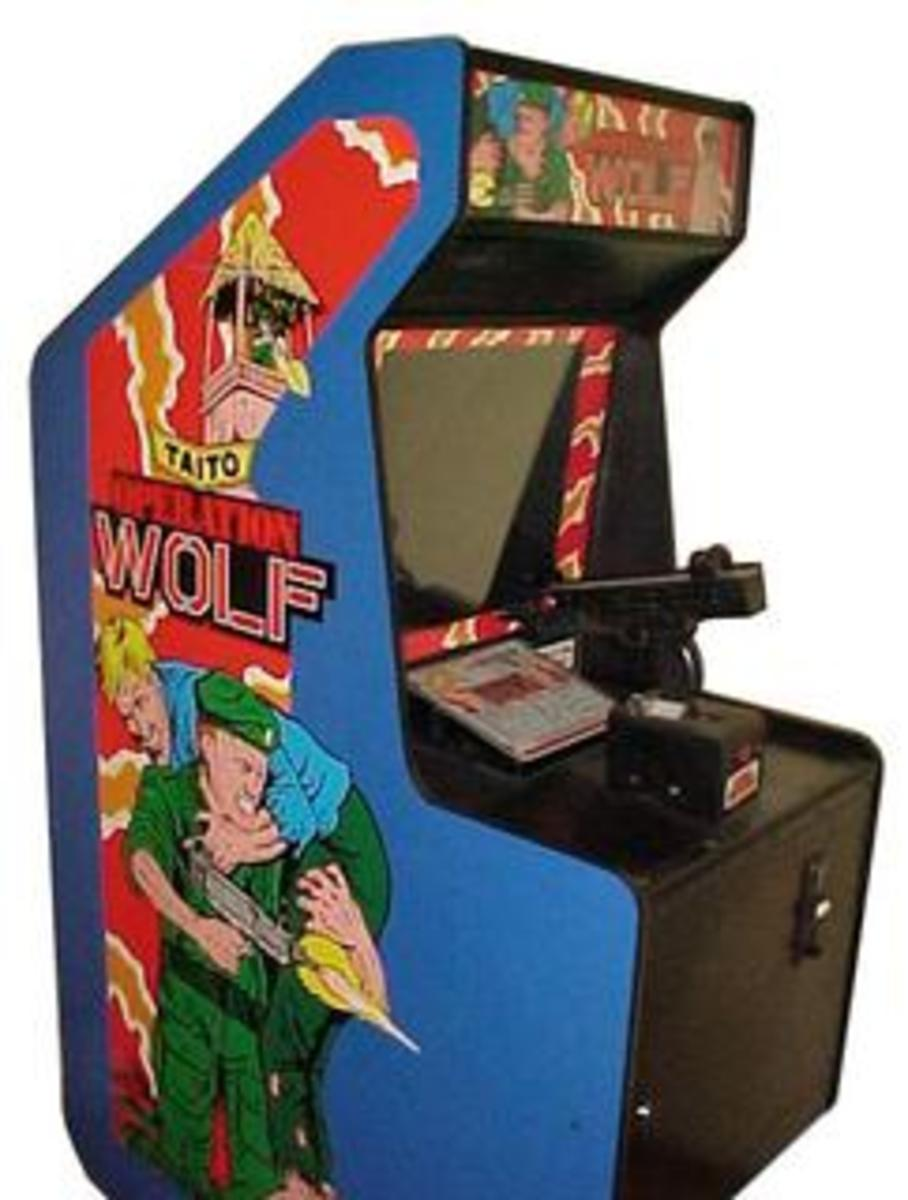 Note the mounted Uzi on the Operation Wolf cabinet