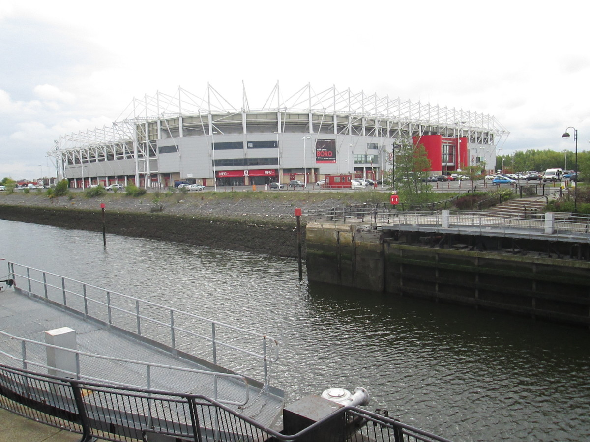 The Riverside Stadium from the dockside formerly a hive of activity until the 1980s