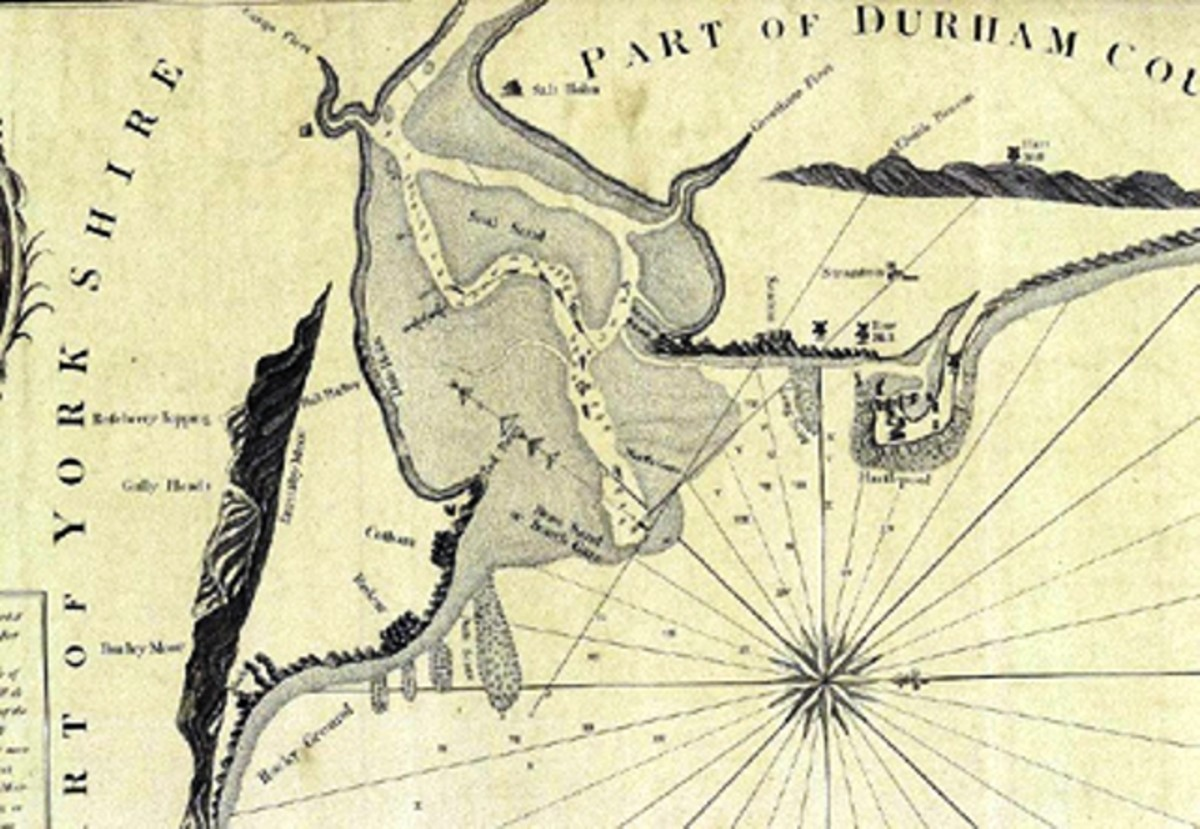 The original rivermouth: Dobson's map of the mouth of the River Tees in 1802 shows the Yorkshire bank on the left, and where the South Gare would be built is marked by a lozenge shape that points downward (in reality it points almost due east).