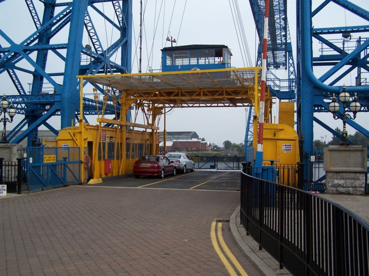 The operating bridge deck on the Transporter Bridge in what was once the dock area of Middlesbrough