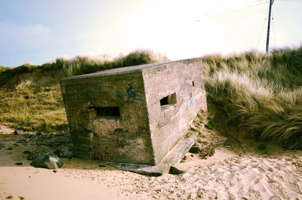 WWII Pillbox on Bran Sands close to the South Gare. Originally set here to watch for signs of invaders, with its 'chunky' construction, this edifice has been shifted by the power of the sea.