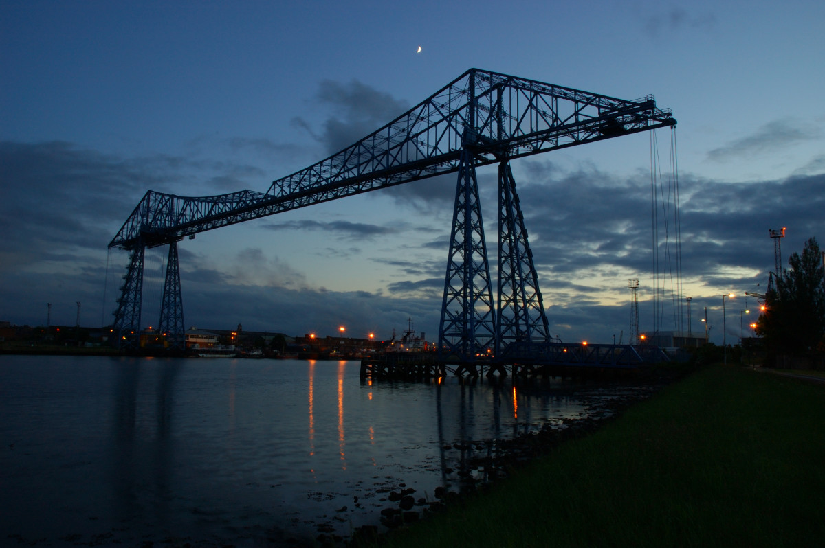 Teesside's icon: the Transporter Bridge opened 1911 and still going strong. Links what was the docks area of Middlesbrough with Port Clarence (Yorkshire-Durham)