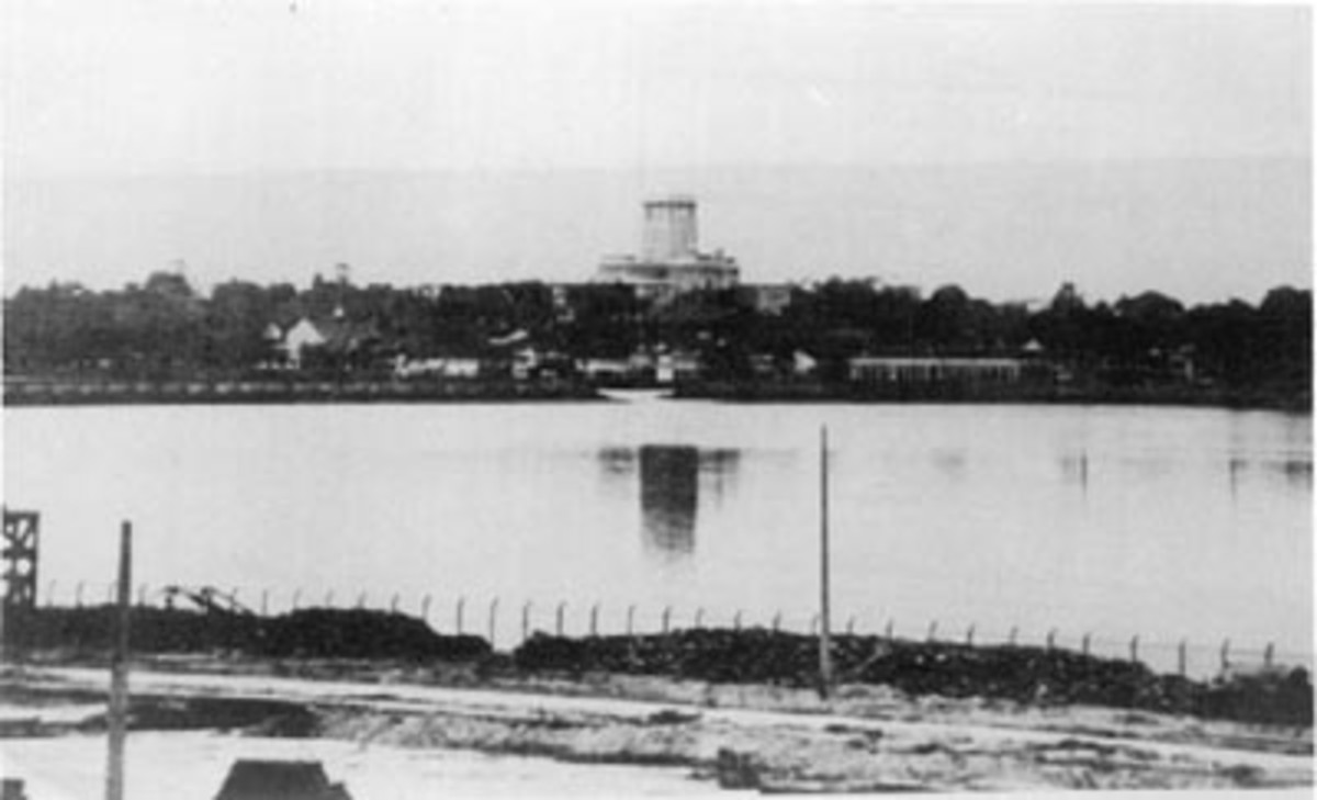 A view of the blown up causeway that stretched from Singapore Island to the mainland.