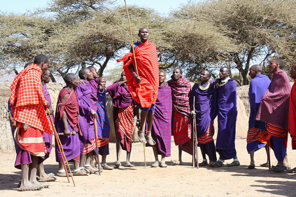 "Maasai warriors ""jumping"" dance"
