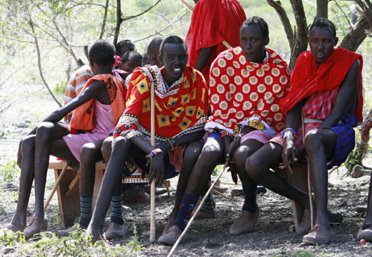 Maasai young morans. Notice the plastic shoes.