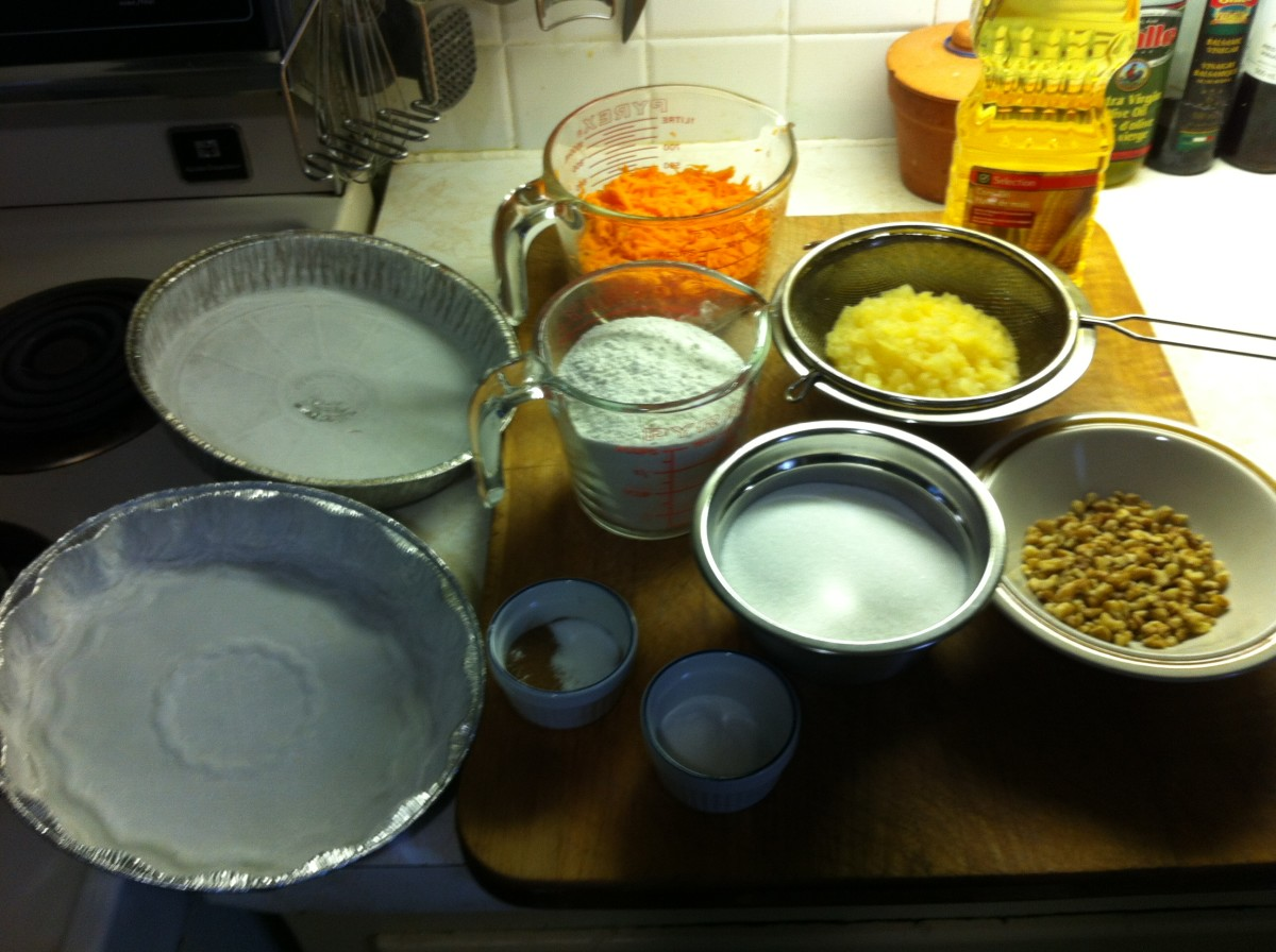 Ingredients needed to make carrot cake with coconut cream cheese frosting.