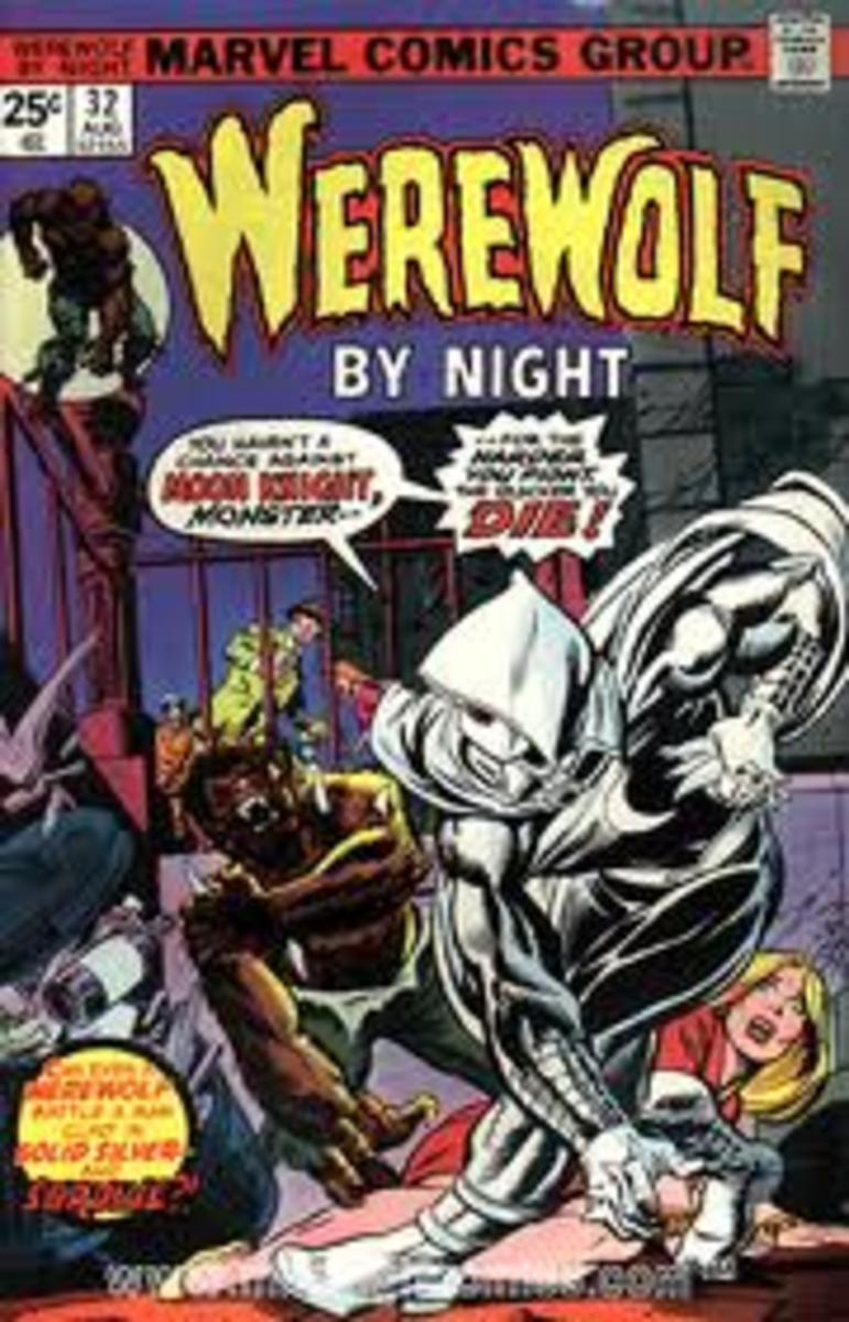 1st appearance of Moon Knight in Werewolf by Night #32 by Marvel Comics.