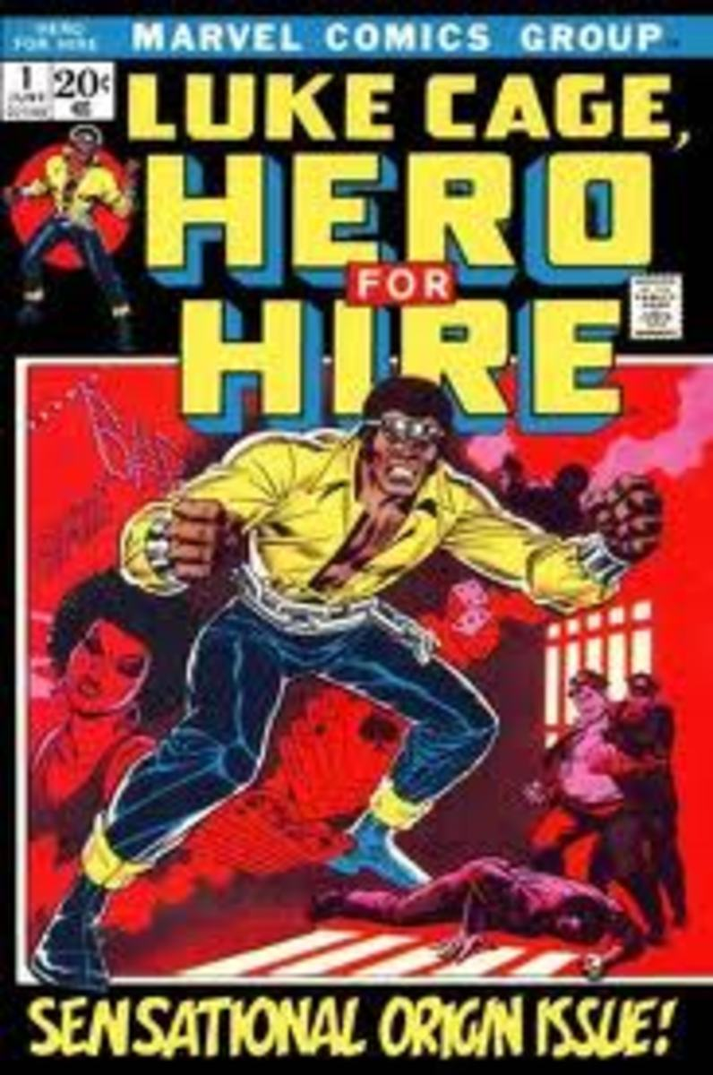 Hero for Hire. First appearance and origin of Luke Cage - The first African American superhero to star in his own series. Marvel Comics.