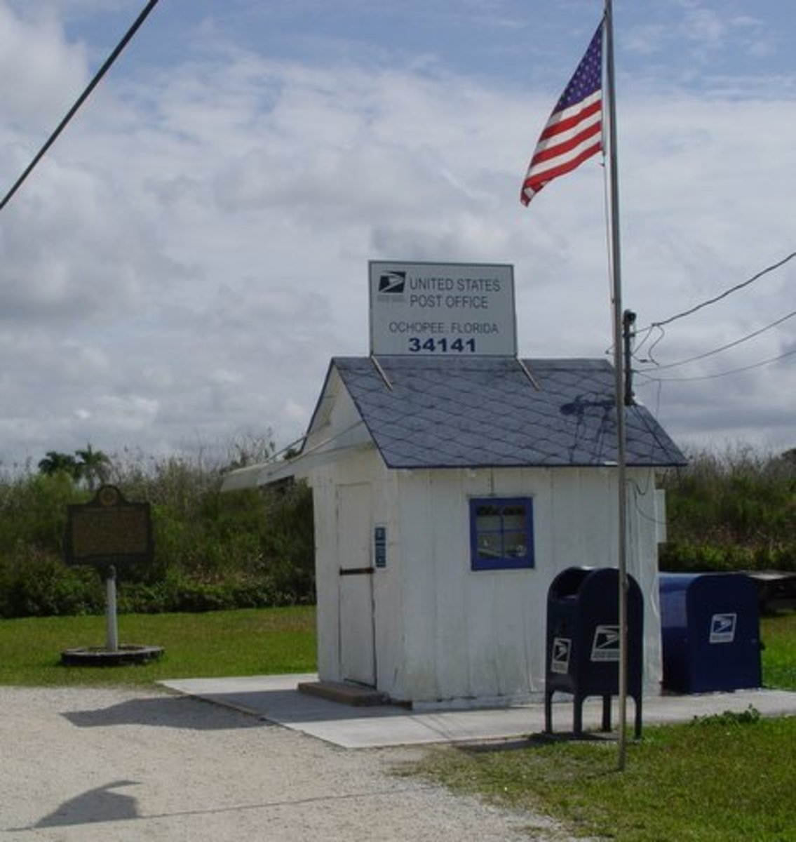 The Ochopee Post Office is the smallest post office in the USA.  The one time storage facility for irrigation pipes was made into a post office in 1953.  The post office is fully functional and owned by the Wooten family.