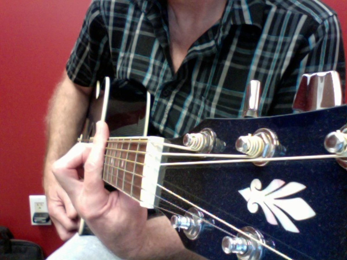 Side view of the correct hand position. Notice the index finger (the barre) is extended past the top of the fret board. This will stop your finger from bending inwards at the second knuckle and muting strings one (E) and two (B)