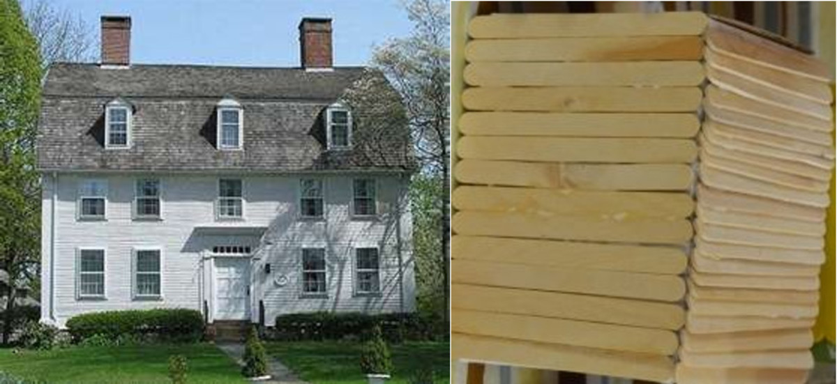 Clapboard house photo next to a child's craft stick creation of a clapboard house