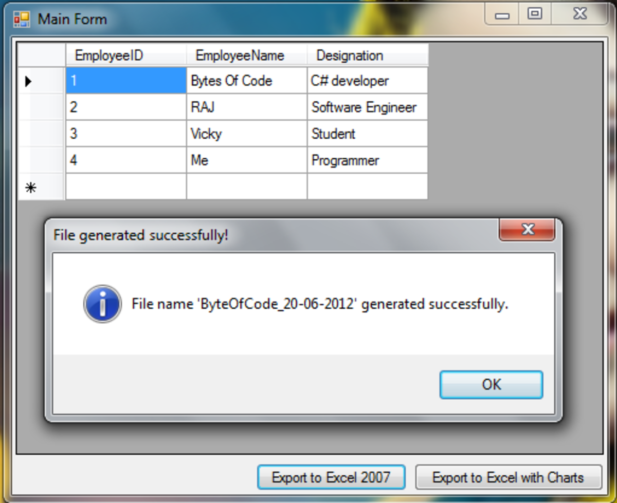 Sample Application to Export DataTable to Excel