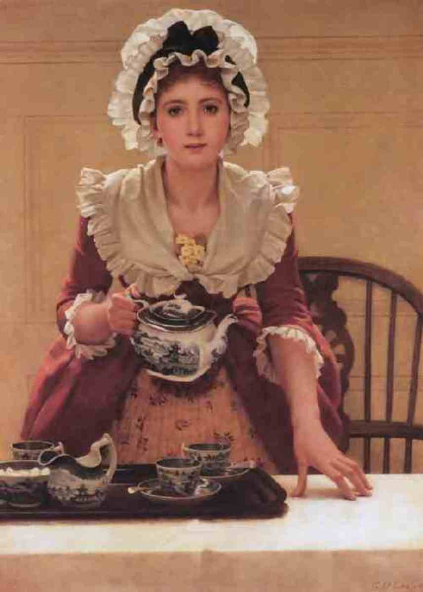 Tea, by George Dunlop Leslie (835-1921 Painted in 1885. a young woman of the 1700s Courtesy of public domain