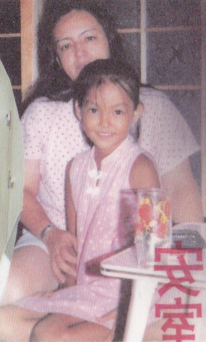 "Emiko Taira with her daughter Namie. The picture is from the book ""Yakusoku"", a biography written by Emiko a year before her death. In it she talks about Namie's early life and what it was like being her mother."