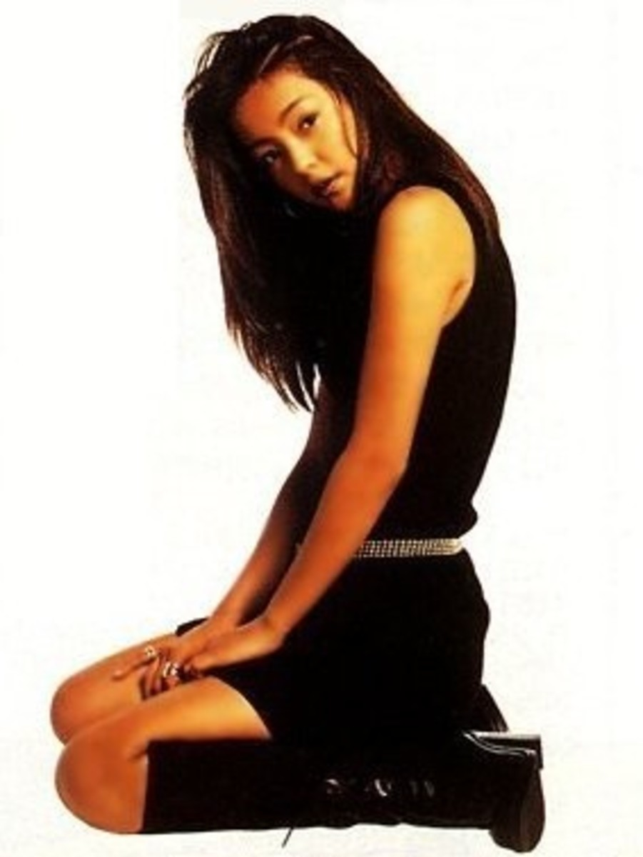 "Namie Amuro in the May, 1996 issue of ""GIRL POP"". This picture shows off the four points of ""Amuraa"":  tanned skin, dark hair, high boots, and short skirts."