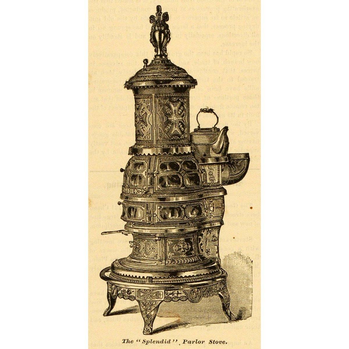 1881 Print Antique Splendid Parlor Stove Design Fuller Warren Co Troy New York
