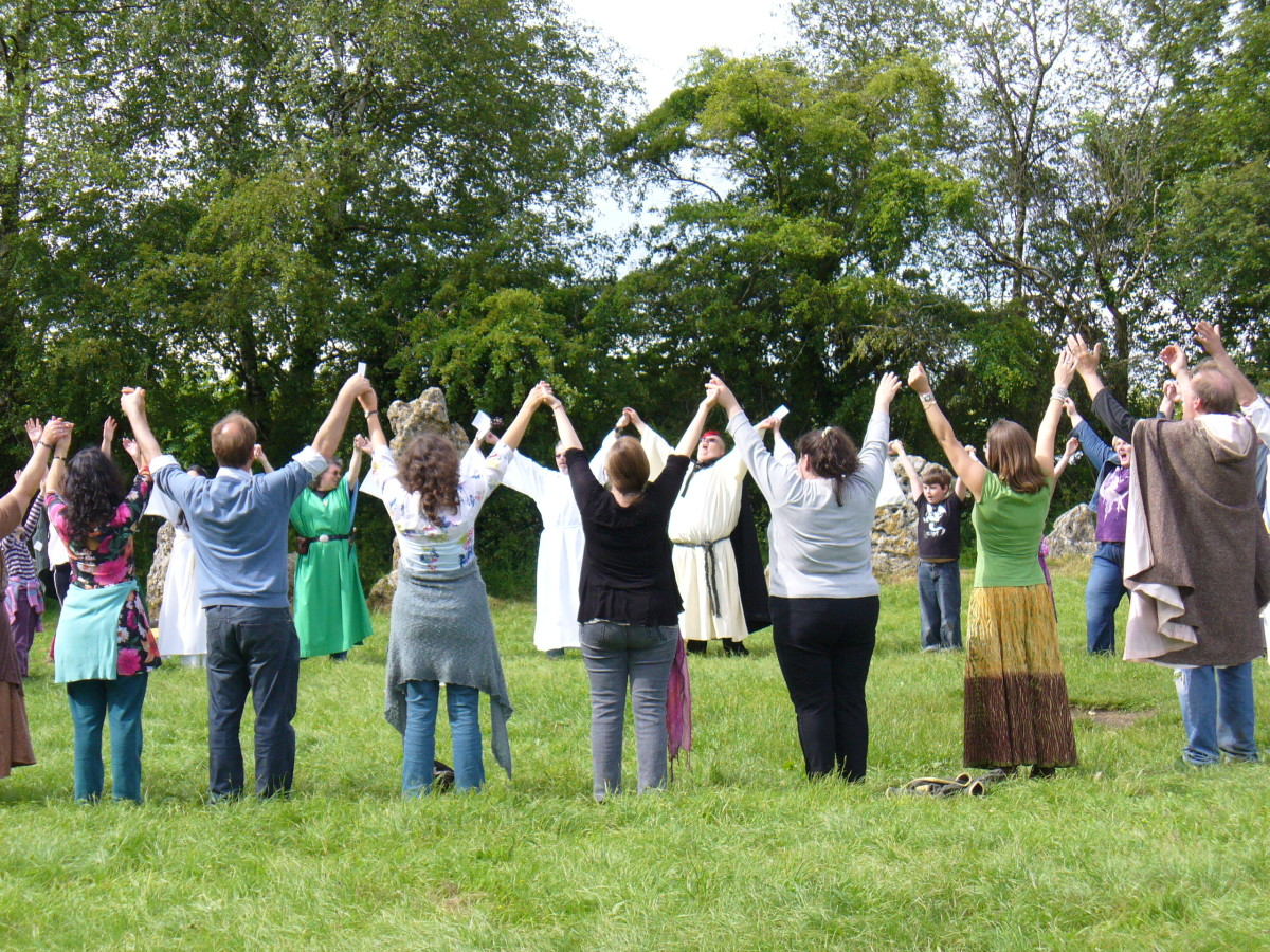 Part of the public summer solstice ceremony at the Rollright Stones.