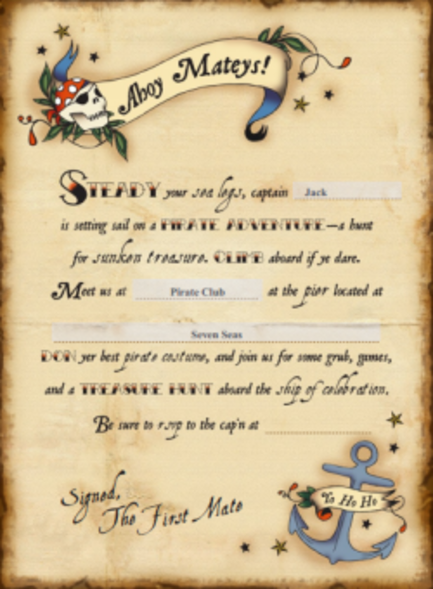 Free Printable Birthday Party Invitations Templates – Pirate Party Invite