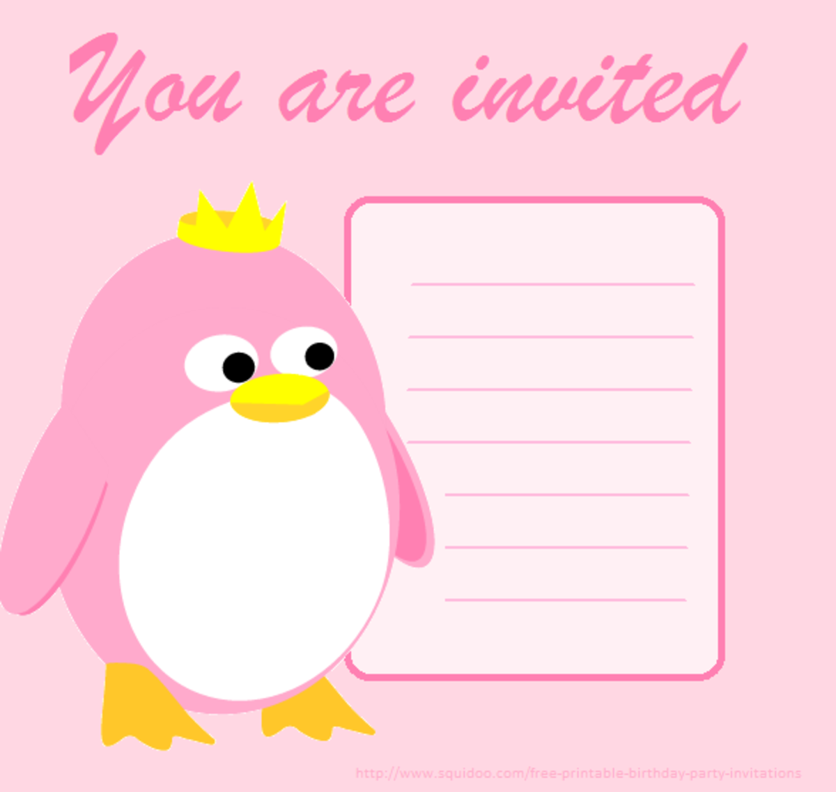 Penguin Princess Invitation. Get it by right clicking and choosing save