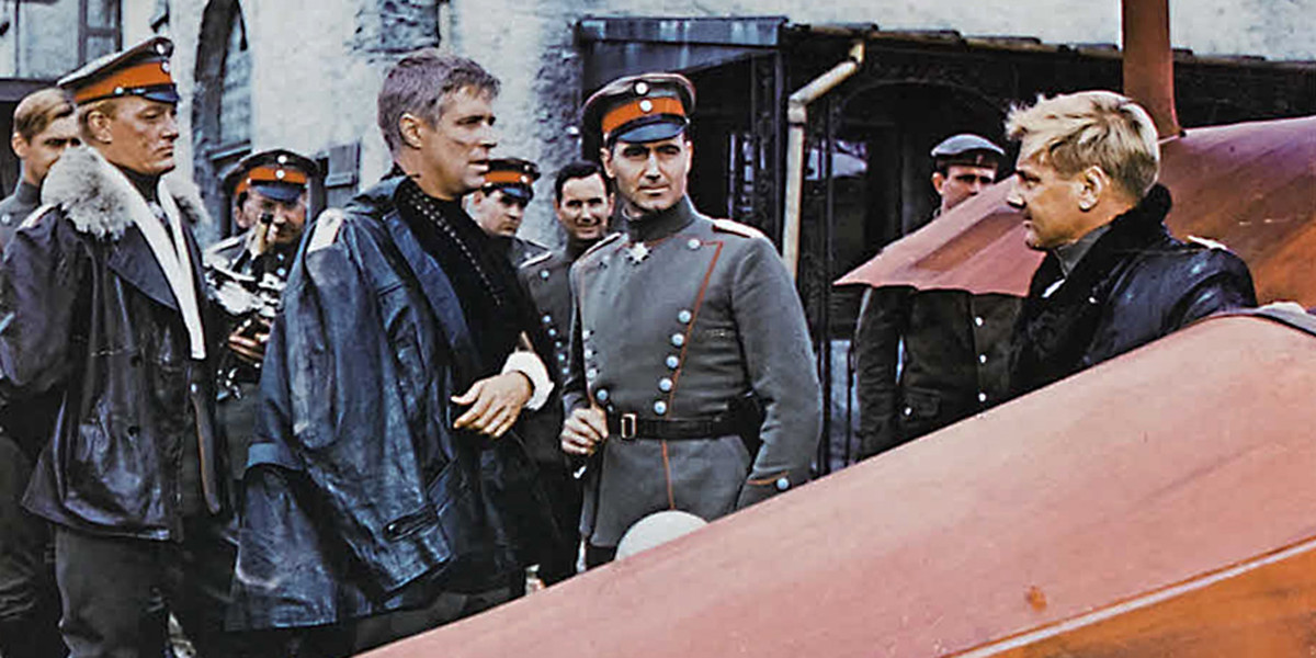 Willi von Klugerman, Bruno Stachel, and Colonel Otto Heideman meet Baron Manfred von Richthofen - the legendary 'Red Baron' - in reality the top scoring ace of the First World war