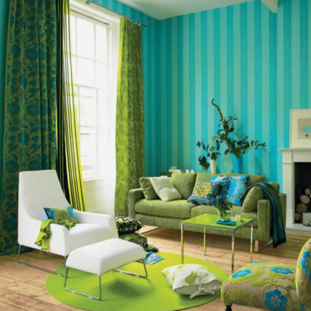 Turquoise and lime green living room interior design ideas for Lime green home decorations