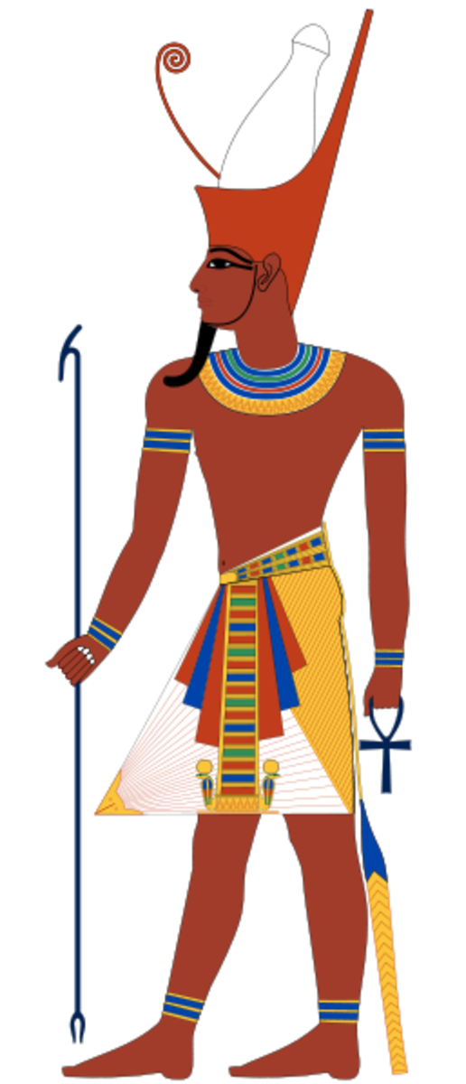 Pharaoh depicted with the double crown of upper and lower Egypt.