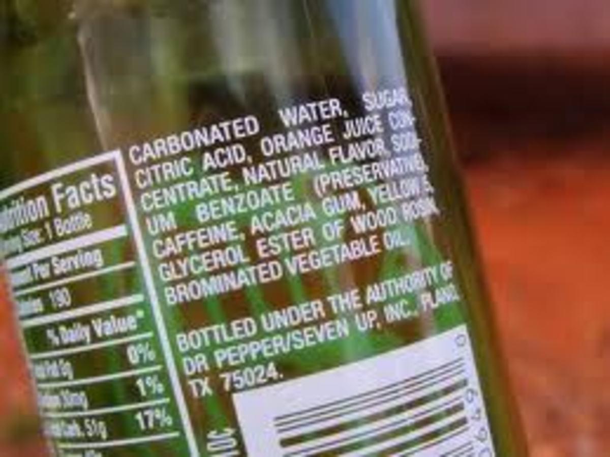 Label on bottle of Mountain Dew