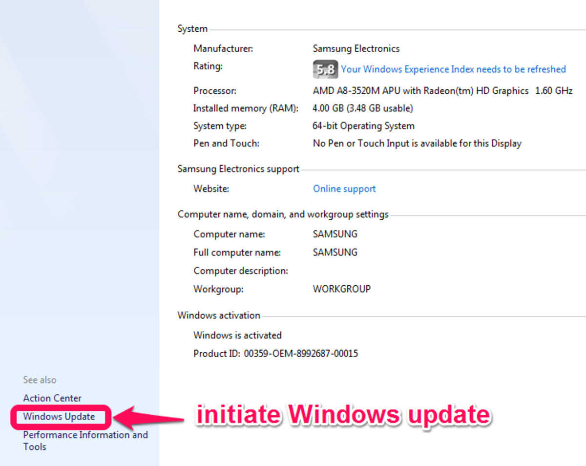 Initiate Windows driver update from within the Control Panel
