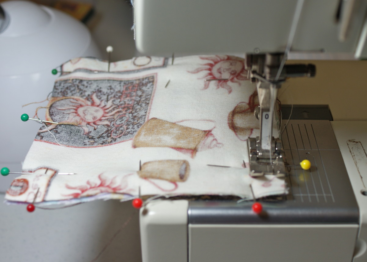 Start sewing about an inch from the edge of side A.