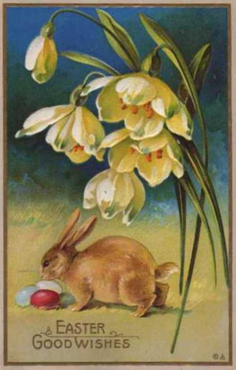 1900 Easter bunny postcard