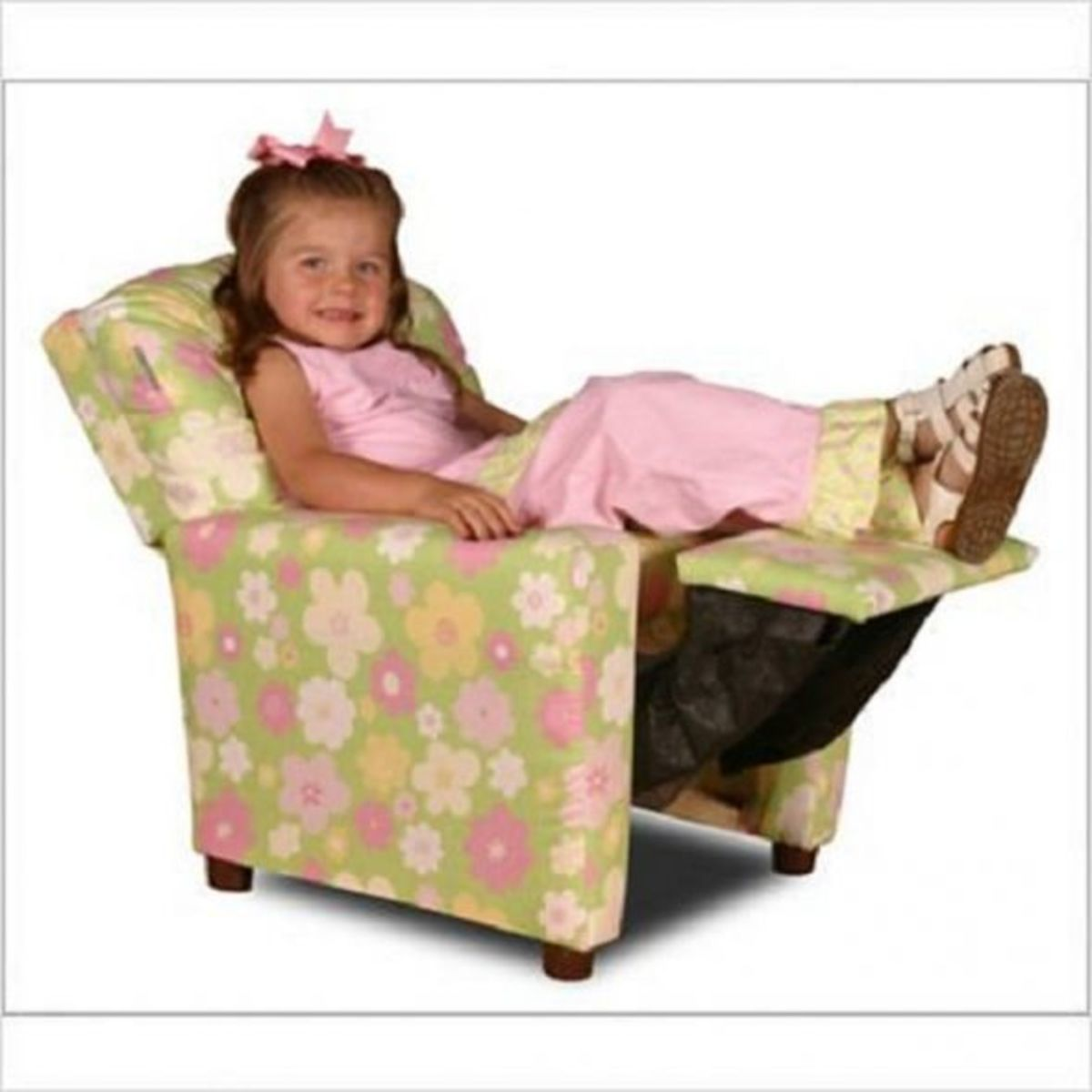 Reclining floral print childrenâs chair