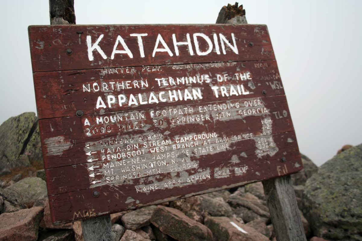 Sign at the Summit of Mount Katahdin marking the northern end of the Appalachian Trail