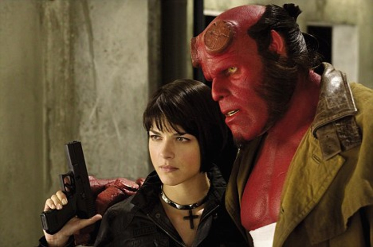 Selma Blair in Hellboy II - The Golden Army with Ron Perlman.