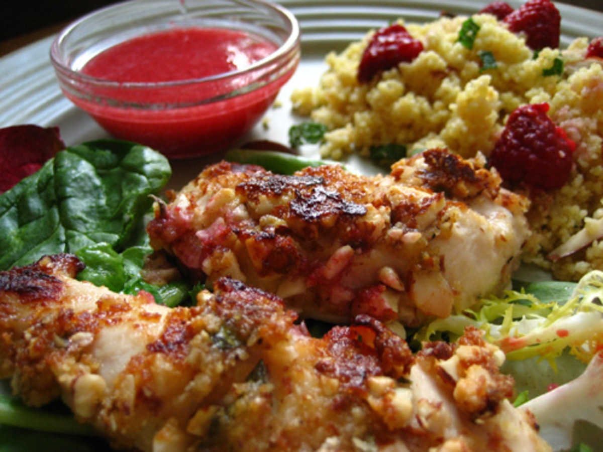 Raspberry sauce with a recipe.