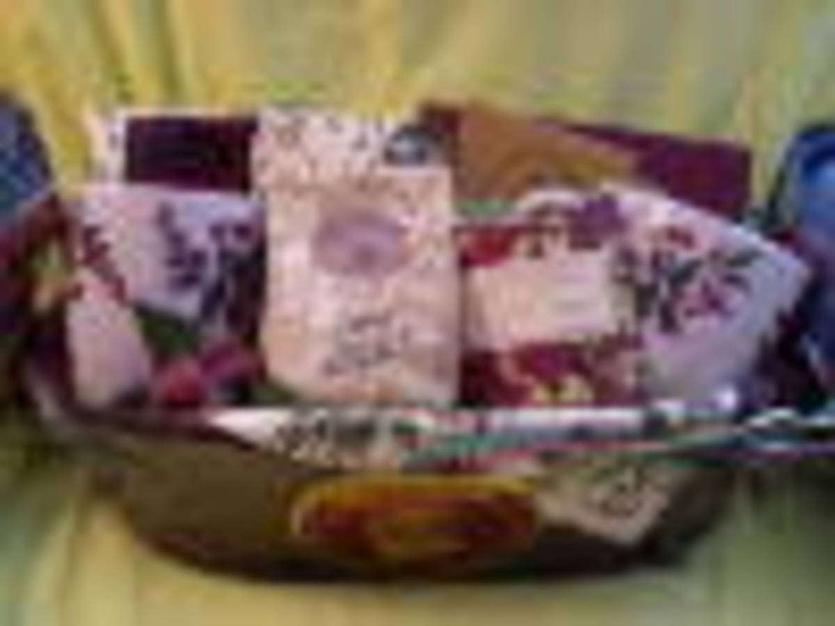 A gift basket ready to be wrapped.